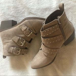 Light Brown Faux Suede Ankle Boots